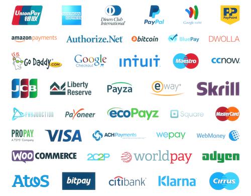illustration représentant la plupart des moyens de paiement les plus utilisés sur internet